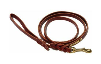 Signature k9 braided leather leash for large dogs