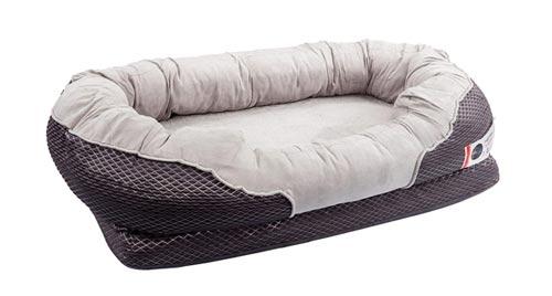 BarksBar Gray Orthopedic Bolster Dog Bed - for large dogs