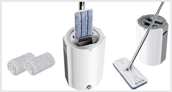 BOOMJOY Microfiber Flat Mop with Bucket